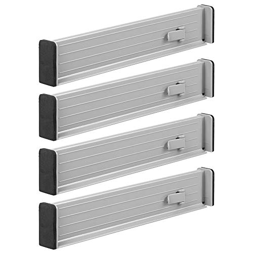 mDesign Adjustable, Expandable Drawer Organizer/Divider - Foam Ends, Strong Secure Hold, Locks in Place - for Bedroom, Bathroom, Closet, Office, Kitchen Storage - 2.5 High, 4 Pack - Gray