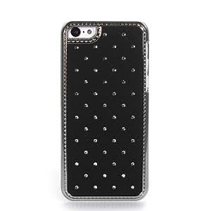 Black Glitter Diamond Bling Rhinestone Star Chrome Hard Case Cover For Apple Iphone 5C