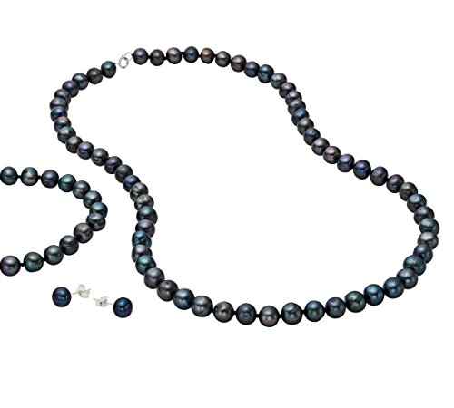 Sterling Silver Freshwater Dyed-black Cultured Pearl Necklace, Bracelet and Earring Set 5-6mm