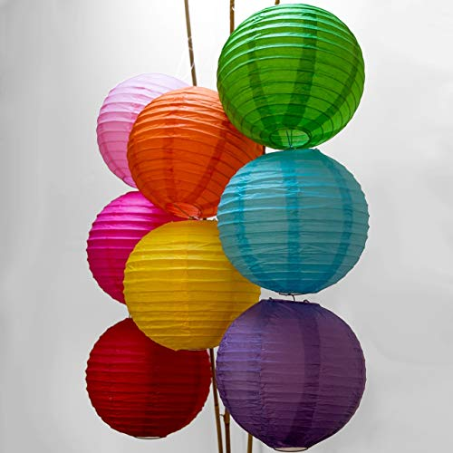 Luna Bazaar Paper Lanterns (12-Inch, Parallel Style Ribbed, Multicolor, Set of 8) - Rice Paper Chinese/Japanese Hanging Decorations - for Home Decor, Parties, and Weddings