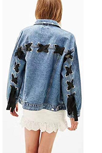 Donna Blau Giacca Vintage Glamorous Primaverile Bavero Moda Lacci Jeans Casuale Lunga Monocromo Cappotto Button Con Tasche Classica Autunno Jacket Outerwear Manica Elegante Semplice dXBRwqxd5v