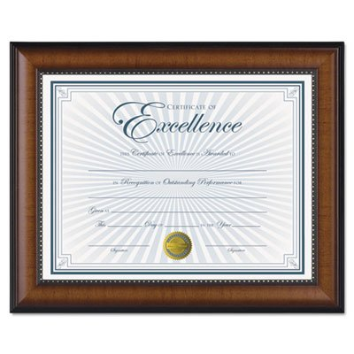 Prestige Document Frame, Walnut/Black, Gold Accents, Certificate, 8 1/2 x 11'', Sold as 1 Each