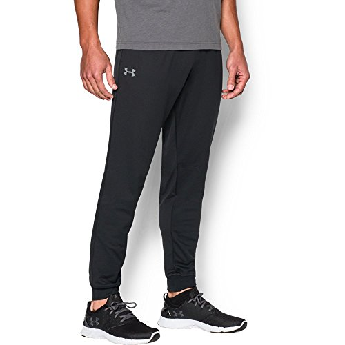 Under Armour Men's Tricot Pants - Tapered Leg, Black/Black, Large