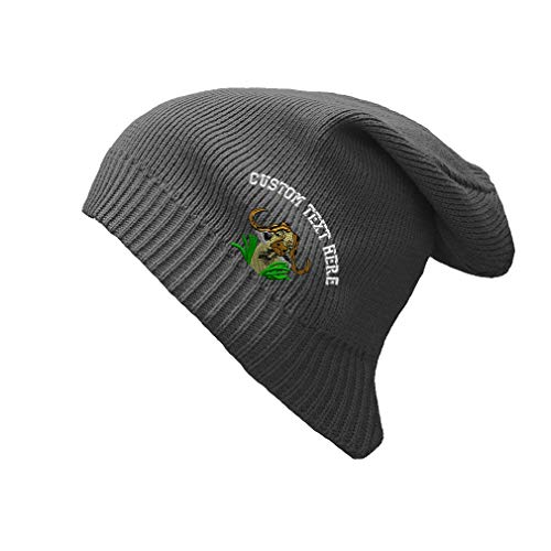 Custom Text Embroidered Cape Buffalo Unisex Adult Organic Cotton Slouch Beanie Skully Hat - Charcoal, One - Hat Buffalo Slouch