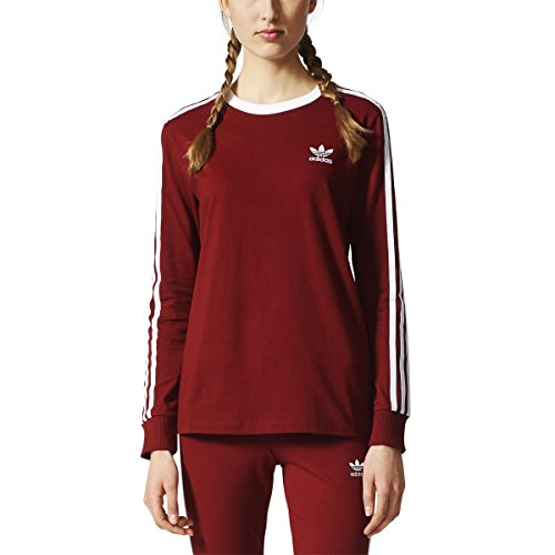adidas Originals Women's 3 Stripes Long Sleeve Tee, Collegiate Burgundy, (Collegiate Long Sleeve Tee)