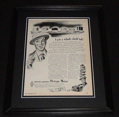 1947 Pitney Bowes Postage Meter Framed ORIGINAL Vintage Advertisement Photo
