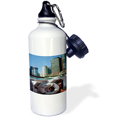 "3dRose wb_48297_1 ""A Over From Inside The Boat On The Architectural Tour of Chicago with The City in The Background"" Sports Water Bottle, 21 oz, White"