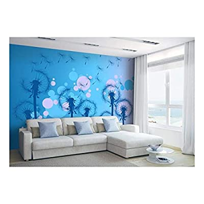 Fun Cute Blue Dandelions Silouettes on a Vibrant Playful Pink and Blue Bokeh Background - Wall Mural, Removable Sticker, Home Decor - 100x144 inches