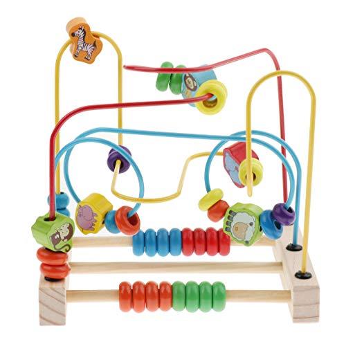IPOTCH 全2色 子供 木製 智力 迷宮 迷路遊び ビーズ 子供用 知能 おもちゃ 空間認識 知育ゲーム おもちゃ  - 動物