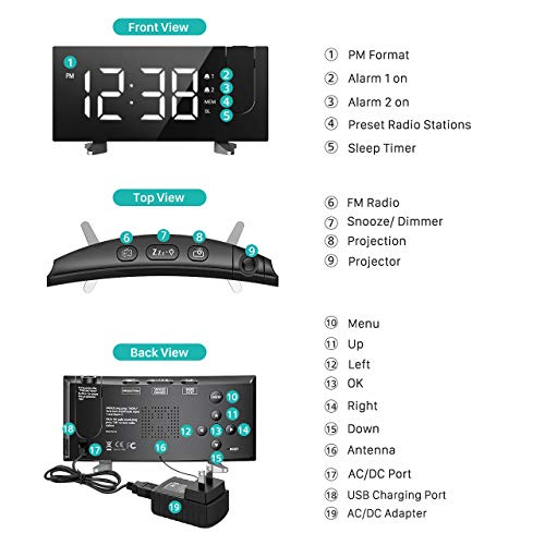 PICTEK Projection Alarm Clock, 5'' Large Curved LED Display, 6 Dimmer, Dual Alarms, 15 FM Radio Clock, Digital Alarm Clock Projection on Ceiling, Bedroom, USB Phone Charger, Snooze
