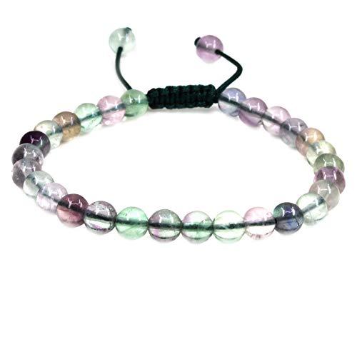 Fluorite Green Bracelet - Amandastone Natural AA Grade Clear Green Fluorite Gemstone 6mm Round Beads Adjustable Bracelet 7