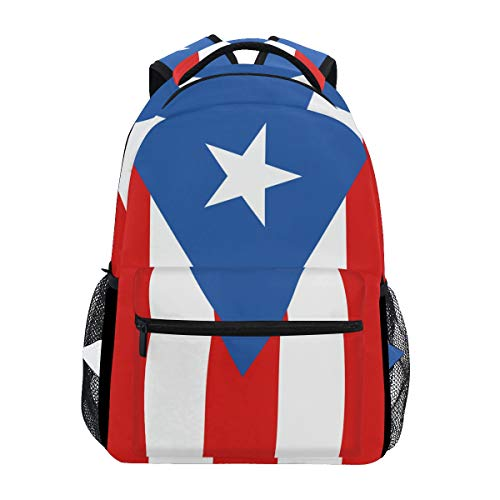 DERLONKAJE Puerto Rico Flag - Support Backpacks School Book Bag Travel Hiking Camping Daypack