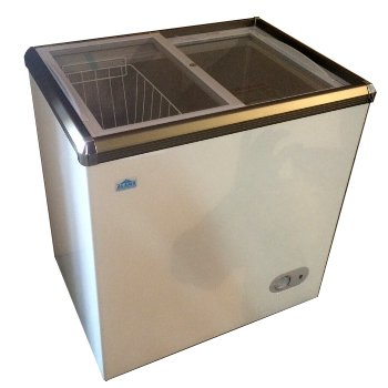 Glass Top Freezer - CS-150, Glass Top Sliding Lid Commercial Ice Cream Freezer