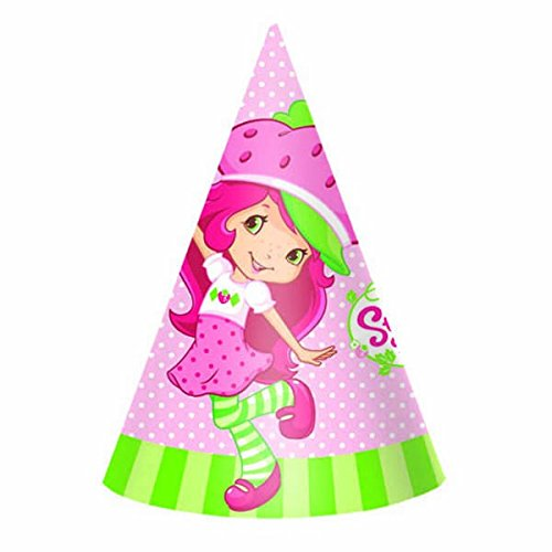 Amscan Pretty Strawberry Shortcake Birthday Party Hats Wearable Accessory Favor (8 Pack), 6
