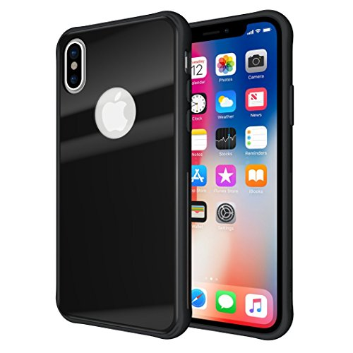 iPhone X Case, TUDIA [Ceramic Feel] Lightweight [GLOST] TPU Bumper Shock Absorption Cover Featuring [Tempered Glass Back Panel] for Apple iPhone X (Black)