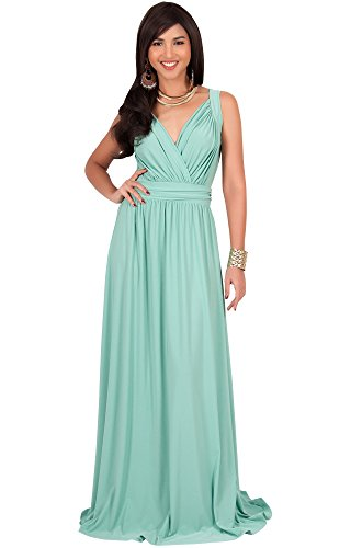 KOH KOH Women Long Sleeveless Flowy Bridesmaids Cocktail Party Evening Formal Sexy Summer Wedding Guest Ball Prom Gown Gowns Maxi Dress Dresses, Light Emerald Green L 12-14 (Evening Bridesmaid Dresses)