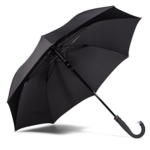 LifeTek Kingston Classic Cane Umbrella Windproof Auto Open 54 inch Large Oversized Fast Dry Canopy Extra Strong Full Size J Handle Stick Umbrellas for Golf or Sport Events Men Women Black FX1 (Cheap Umbrella Good)