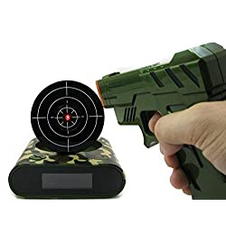 Gun Alarm Clock Shoot Alarm Clock Gun Clock Lock N Load Target Alarm Clock office gadgets (Camo)