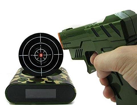 Gun Alarm Clock Shoot Alarm Clock Gun Clock Lock N Load Target Alarm Clock office gadgets (Camo) (Meditation Claw Bell)