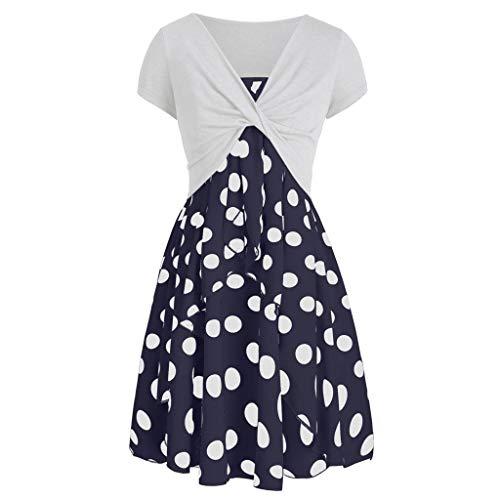 (Summer Dress for Women, Women's 2019 Fashion Short Sleeves Cross Wrap Top Dinosaur Print Mini Dress Suit)
