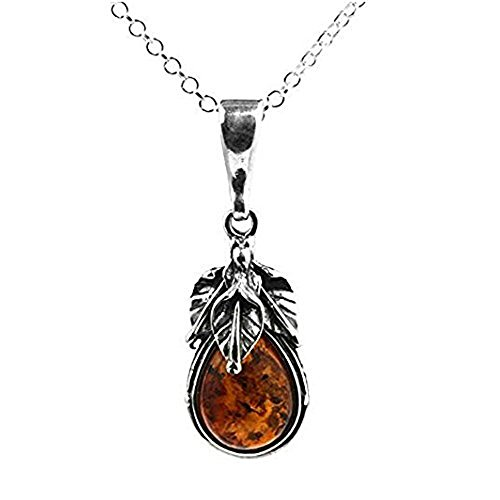 Ian and Valeri Co. Baltic Amber and Sterling Silver Antique Leaf Classic Pendant Neckalce 18