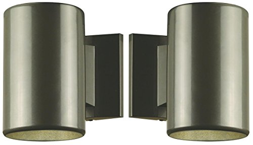 One-Light Outdoor Wall Fixture, Polished Graphite Finish on Steel Cylinder 2-Pack