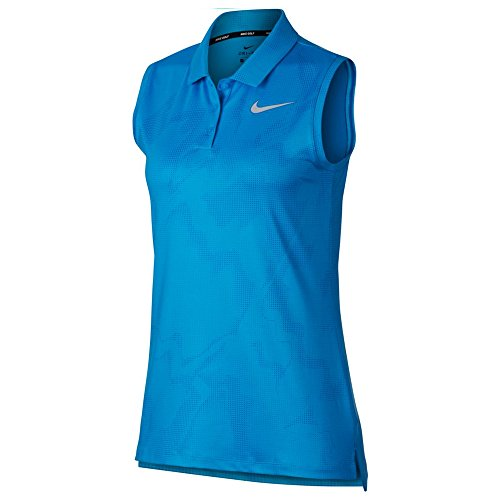Nike Dry Sleeveless Summer Print Golf Polo 2018 Women Equator Blue/Flat Silver Large
