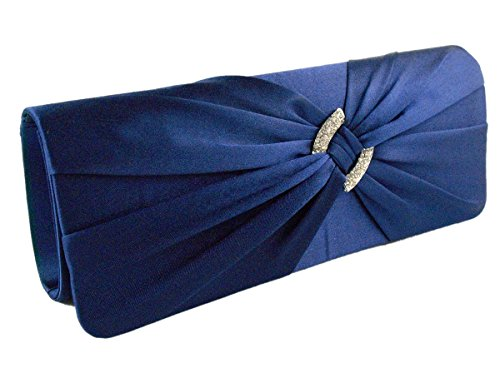 - AITING Womens Satin Diamante Pleated Evening Clutch Bag Bridal Handbag Prom Purse (Navy Blue)