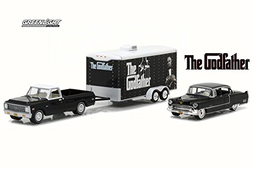 1:64 HOLLYWOOD HITCH & TOW 3 - THE GODFATHER - 1972 CHEVROLET C-10 - 1955 CADILLAC FLEETWOOD SERIES 60 - ENCLOSED CAR TRAILER 31030-B DIECAST BLACK GREENLIGHT