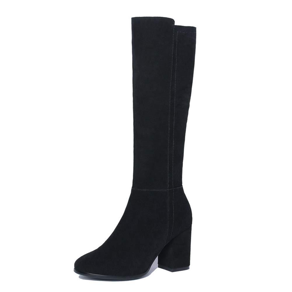 Black T-JULY Women's Fashion Knee High Boots Winter shoes Black Side Zipper Warm Fur Wedge Platform Half Quality shoes