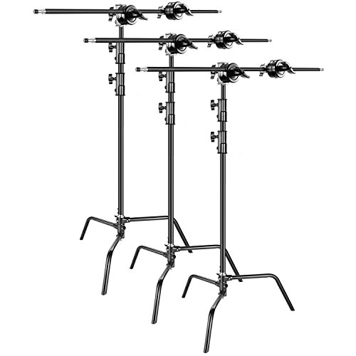 Neewer 3-pack Heavy Duty Light Stand C-Stand - Max. 10 feet/3 meters Adjustable with 3.5 feet Holding Arm and Grip Head for Studio Video Reflector, Monolight and Other Photographic Equipment (Black) by Neewer