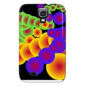 TPU Black Colorful Circles. Case Cover For Sumsang Galaxy S4