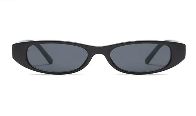 ba095f64b02 Skinny Sunglasses for Women Small Plastic Glasses Slim Narrow Rectangular  Frame (Black