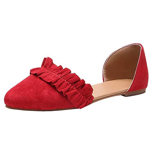 (Women's Pointed Toe Sandals Casual Lace Solid Color Fashion Casual Loafers Single Shoes Red)