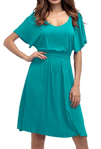 T Dress Tunic A1 Sleeve Neck Dresses up 3 4 Loose Womens acidblue Button Fit Casual Shirt V 6qpCxZ7