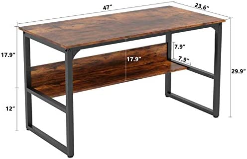 """Home Office Computer Desk with Storage Space Study Writing Desk with Bookshelf Modern Style Table of Multi Utility (47"""", RusticBrown)"""