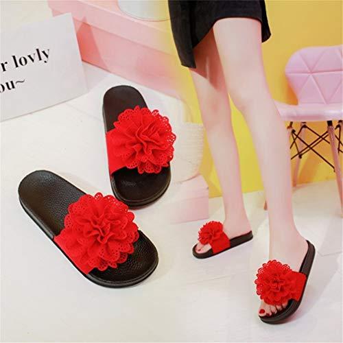 Femmes Et YUCH Chaussures À Confortables De Muffins Red Fleurs pour Plage qZPEUZzxw