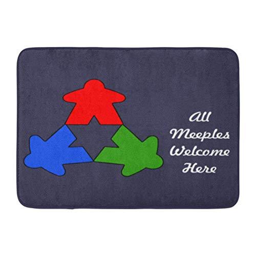"""zixi Custom Doormats All Meeples Welcome Here Home Door Mats 15.7""""x 23.6"""" inches Entrance Mat Floor Rug Indoor/Outdoor/Front Door/Bathroom Mats Rubber Non Slip"""