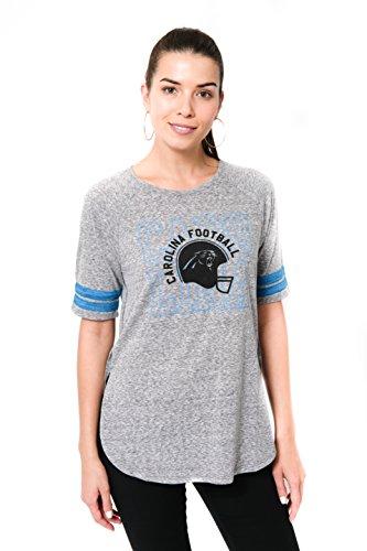 - Icer Brands NFL Carolina Panthers Women's T-Shirt Vintage Stripe Soft Modal Tee Shirt, X-Large, Gray