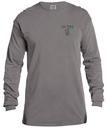 NCAA Cal Poly Mustangs Vintage Poster Comfort Color Long Sleeve T-Shirt, Medium,Grey