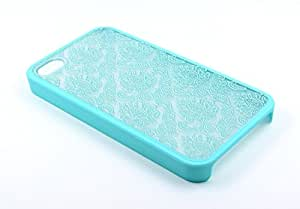 Apple iPhone 4 Case, iPhone 4S Case - NageBee(TM) - Diva Lace Damask Design Ultra Slim Translucent Rubber Coating Hard Case with free Ultra-sensitive Stylus Pen (Lace Teal green)
