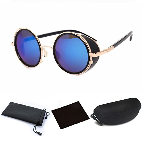 Hot Mens Womens Steampunk Retro Style 50s Golden Frame Round Blue Mirror Lens Glasses Blinder Sunglasses for Steampunk Costume Outfit Cosplay Themed Wedding (70s Outfits For Men)