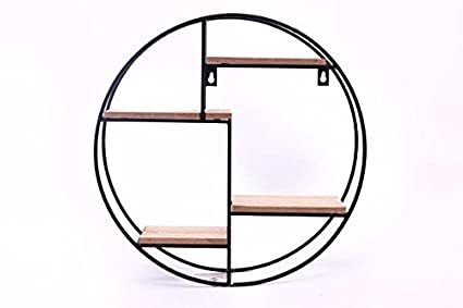low priced 263fe 8f207 Round Display Shelves Black Iron Metal Wire & Wood Shelf Wall Shelving Unit
