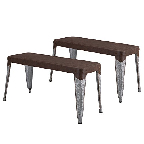 Joveco Sheet Metal Frame Galvanized Distressed Vintage Ancient Style Dining Table Bench (Matterhorn Brown Metal Top and Bombay Legs Metal Grame)