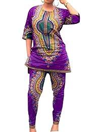 QD-CACA Women African Dresses Printed Dashiki Top and Leggings Sets