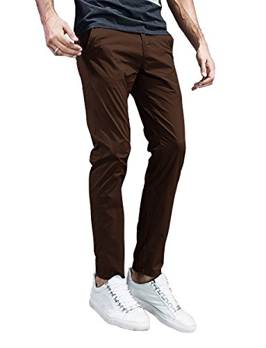 Match Mens Slim-Tapered Flat-Front Casual Pants (42, 8105 Brown) (Best Mens Slim Fit Chinos)