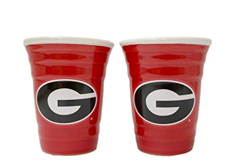 NCAA Georgia Bulldogs 2 oz Red Tailgater Ceramic Shot Glass (Ncaa Georgia Bulldogs Ceramic)