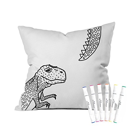 Oh, Susannah Dinosaur Coloring Throw Pillow Cover Kit (1 18 by 18 Inches) with Permanent Fabric Markers INCLUDED Color Your Own Pillow Cover
