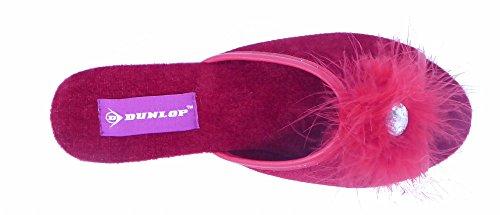 Talon à compensé pour Velours Red en Dunlop Pantoufles Femme qE6wpxPH