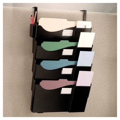 Officemate - Filing System For Cubicle 4 Pockets 16 5/8'' X 5'' X 27 1/2'' Plastic Black ''Product Category: File Folders Portable & Storage Box Files/File Sorters''